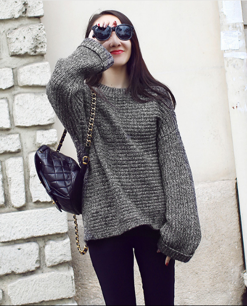 Lazy Style Loose Batwing Pullover Solid Color Sweater - Meet Yours Fashion - 1