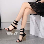 Straps Belt Buckle Chunky Heel Peep-toe High Heel Sandals