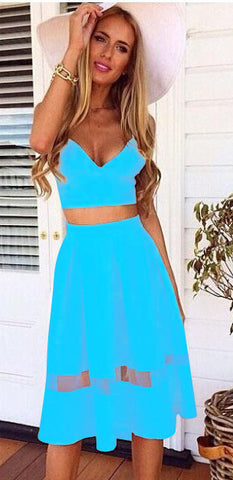 Spaghetti Strap Patchwork Crop Top with Long Skirt Two-piece Dress - MeetYoursFashion - 10