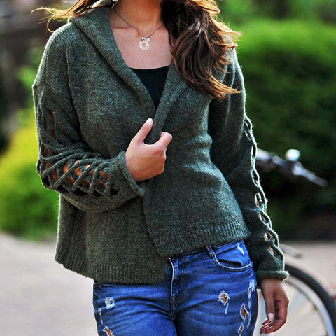 Cut Out Short Hooded Cardigan