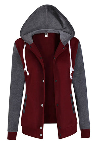 Patchwork Button Drawstring Slim Hoodie