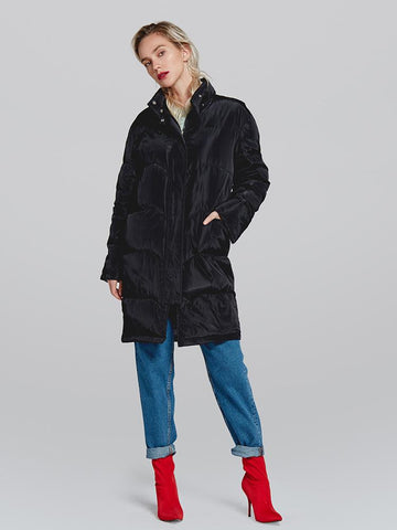 Stand Collar Solid Color Women Oversized Long Down Coat