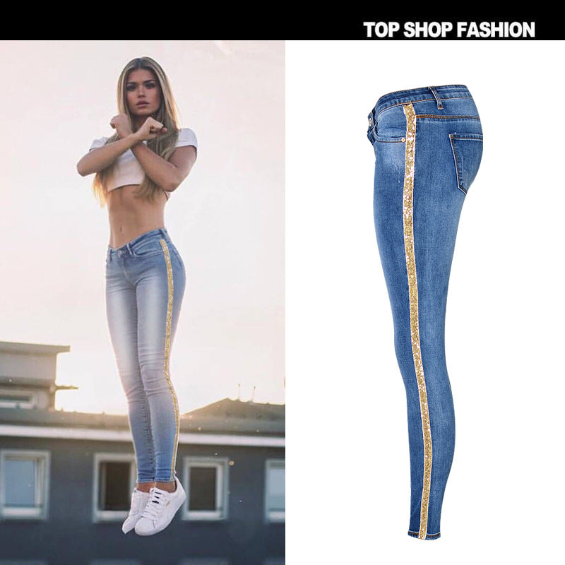 Shinning Sequins Back Packets High Waist Patchwork Zipper Long Skinny Pants