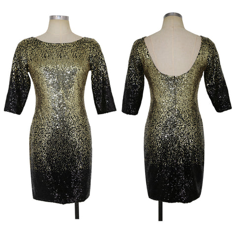 Sequins Open Back Patchwork 3/4 Sleeves Short Party Dress