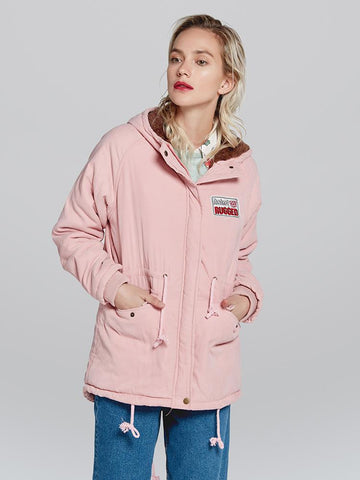 Candy Color Women Warm Hooded Oversized Parka Jacket Coat