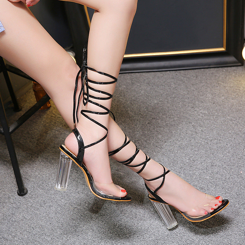 Ankle Straps Lace Up Transparent High Chunky Heel Sandals