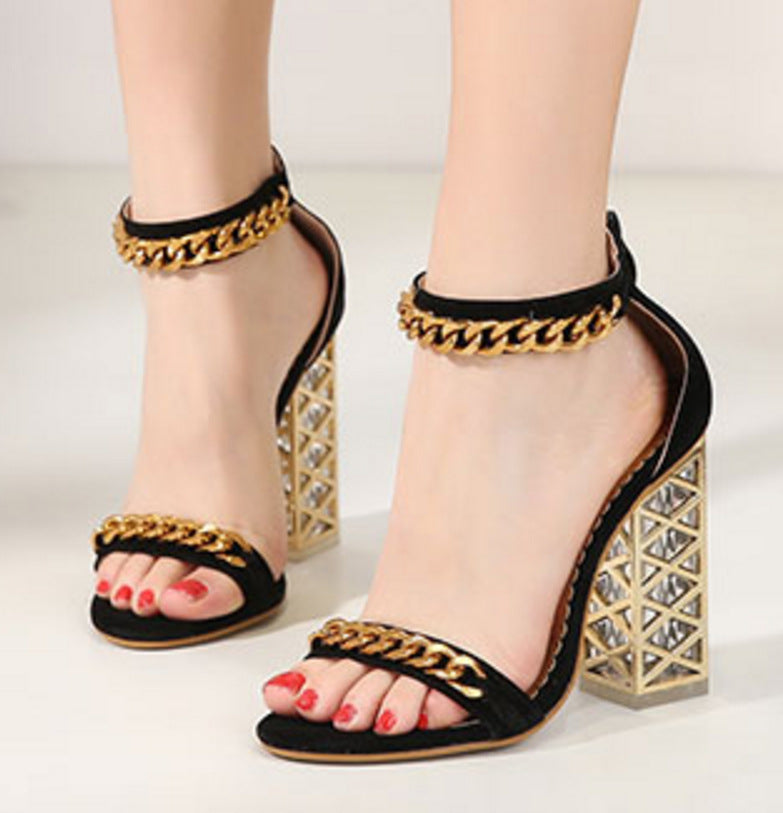 Metal Chain Simple Open Toe Ankle Wrap High Chunky Heel Sandals