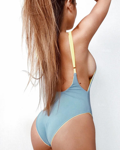 Both Side Wear Solid Color Spaghetti Straps One Piece Swimwear
