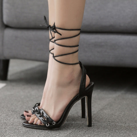 Straps Ankle Open Toe Simple Style Stiletto High Heels Sandals