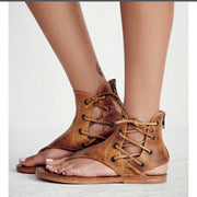 Lace Up Thong Back Zipper Women Flat Beach Sandals with Plus Size