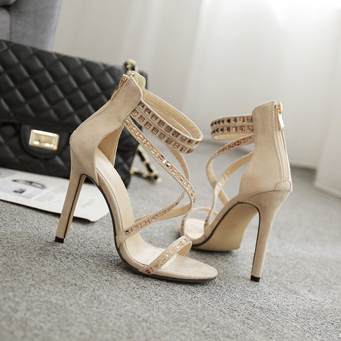 Diamond Strap Cross Simple Ankle Wrap Stiletto High Heel Sandals