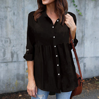 Button V-neck Pure Color Long Sleeves Loose Blouse