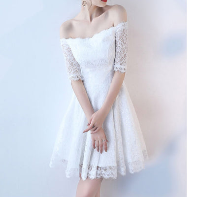 Off the Shoulder Half Sleeves Women Lace Short Dress