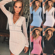 Deep V-neck Long Lace Sleeves Women Short Bodycon Dress