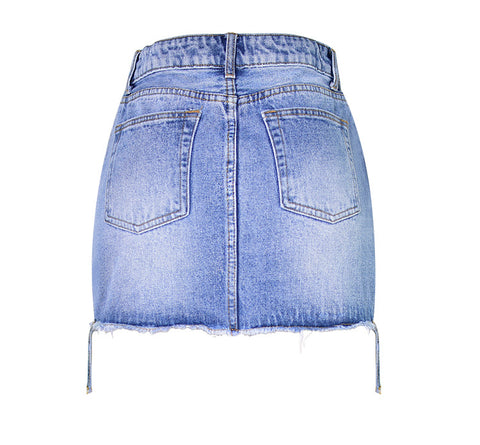 Zipper High Waist Packets Slim Short Denim Skirt