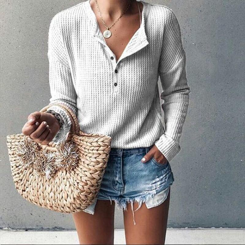 V-neck Loose Long Sleeves T-shirt
