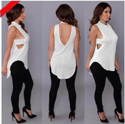 Backless Sleeveless High Neck Slim Sexy Blouse - Meet Yours Fashion - 5