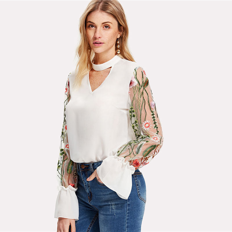 Embroidery Cut V-neck Patchwork Transparent Lace Long Sleeves Blouse