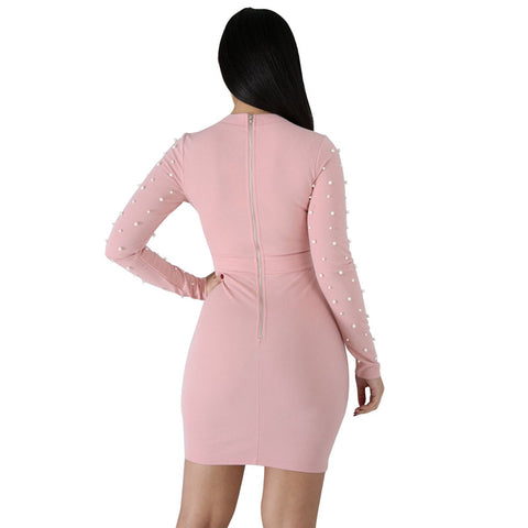 Beads Long Sleeves Bodycon Short Dress