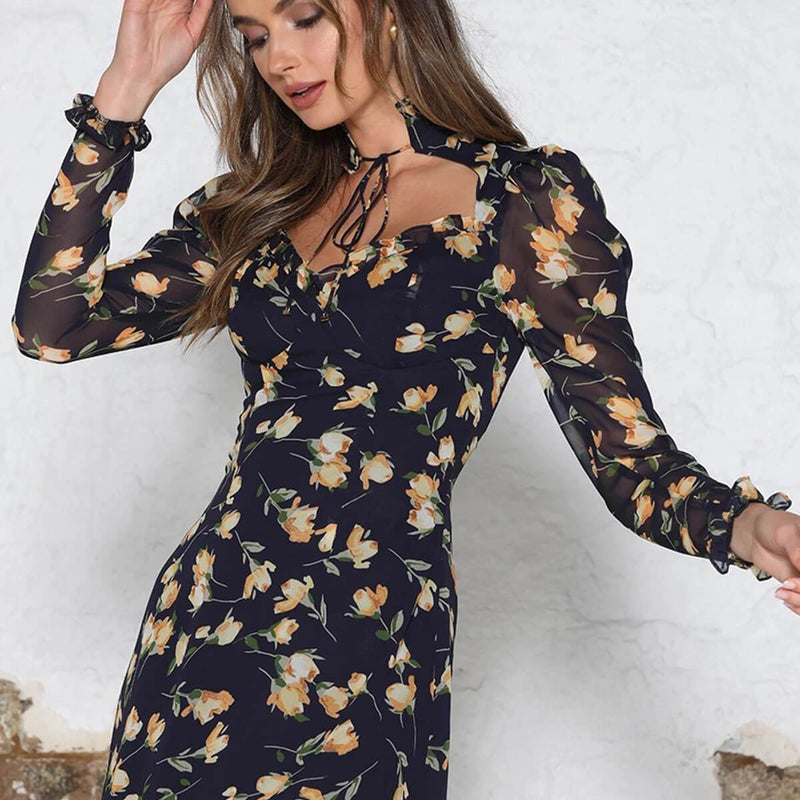 Black Floral Flapper Bandage Long Sleeve Dress