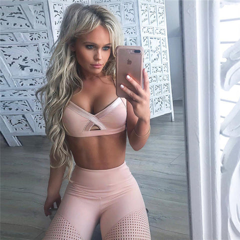 Back Cross Straps Crop Top with High Waist Long Skinny Leggings Women Two Pieces Sports Set