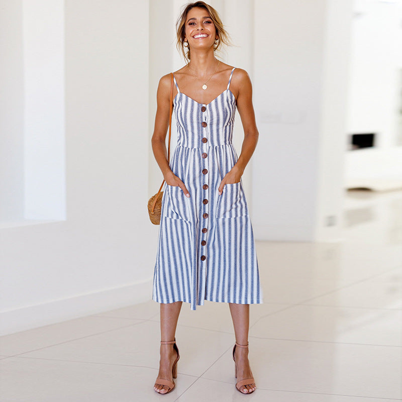 Buttons Spaghetti Stripe Pockets Women A-line Tee-length Dress