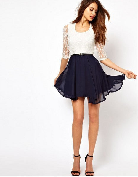 Lace Splicing Short Chiffon With Belt Dress - MeetYoursFashion - 6