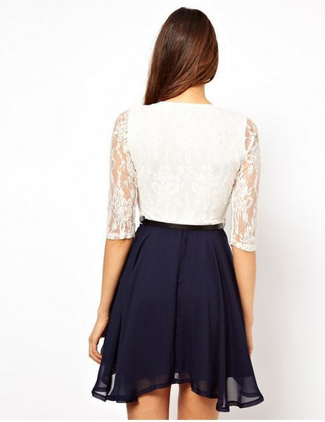 Lace Splicing Short Chiffon With Belt Dress - MeetYoursFashion - 5