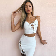 Lace Up Spaghetti Straps Crop Top with Short Skirt Two Pieces Dress Set