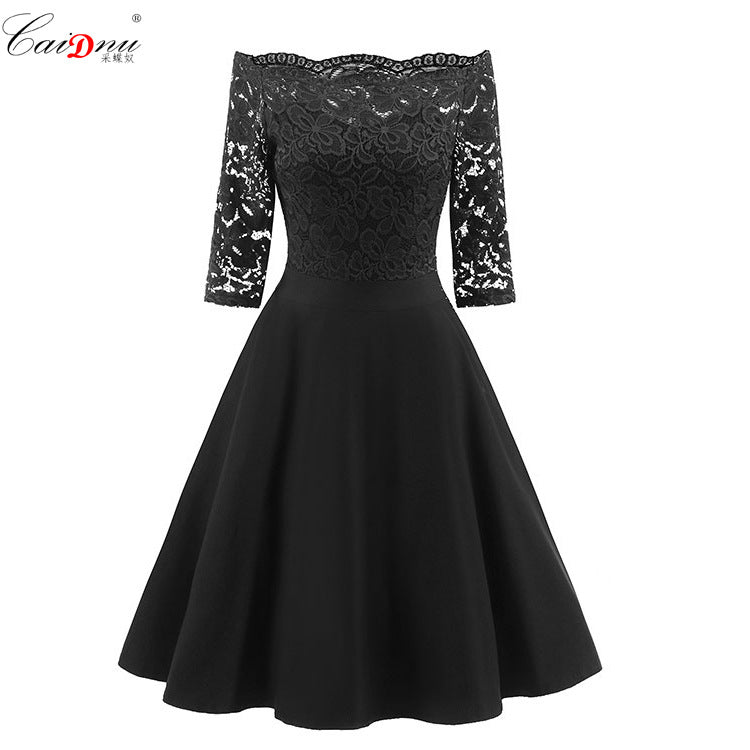 Off the Shoulder 3/4 Sleeves Lace Patchwork Women Short Dress
