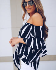 Off Shoulder Striped Strap Short Sleeves Ruffles Blouses