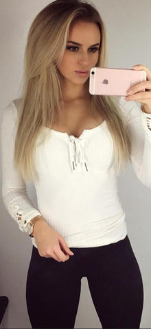 Sexy Lace Up V Neck Lace Cuff Long Sleeve Blouse