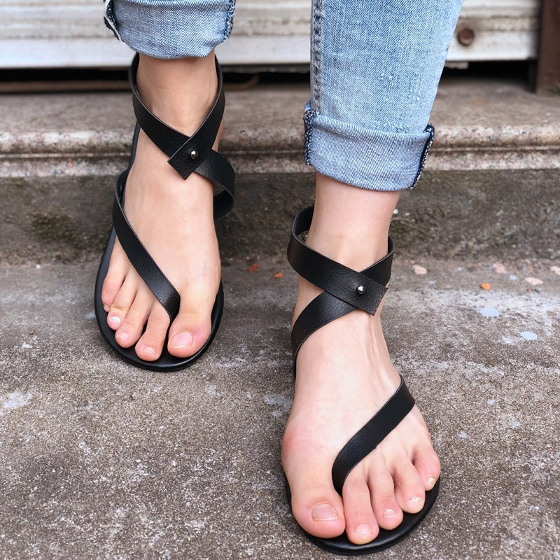 Simple Thong Ankle Wrap Women Flat Beach Sandals