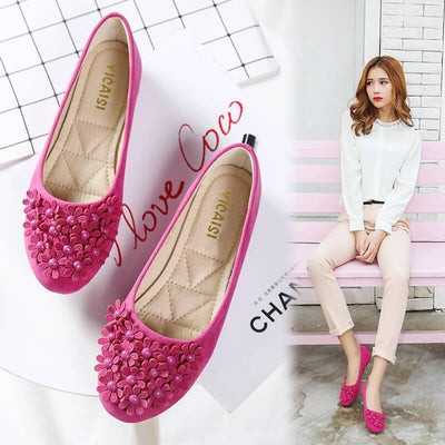 Cute Flower Scrub Slip On Comfortable Flats