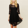 Lace Long Sleeve Pure Color O-neck Irregular Short Dress - Meet Yours Fashion - 2