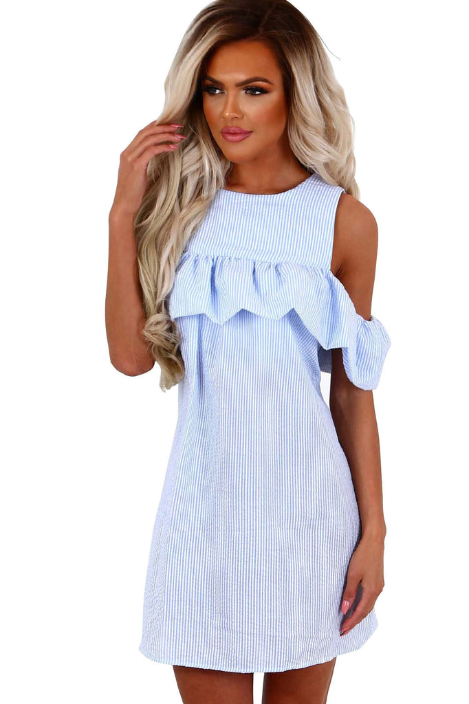 Bear Shoulder Ruffles Stripes Loose Short Dress
