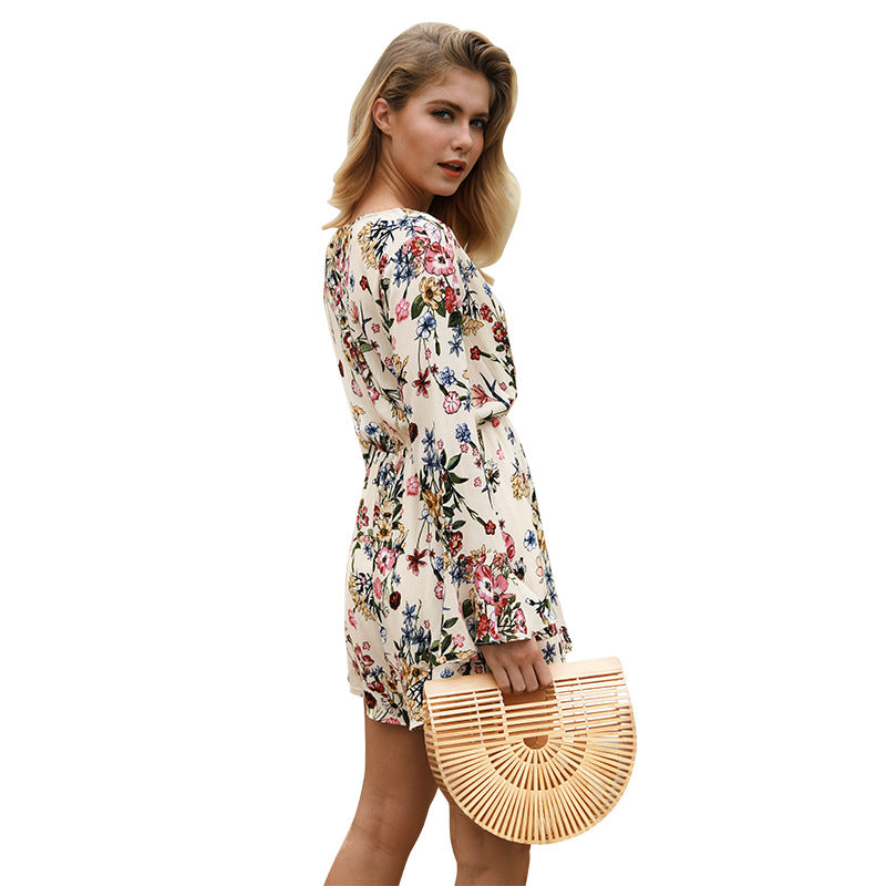 Loose Long Trumpet Sleeves V-neck High Waist Flower Print Short Jumpsuits