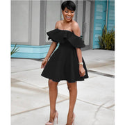 Off the Shoulder Ruffles High Waist Short A-line Dress