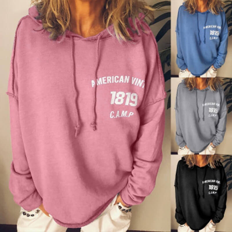 Pullover Drawstring Letter Print Loose Hoodies