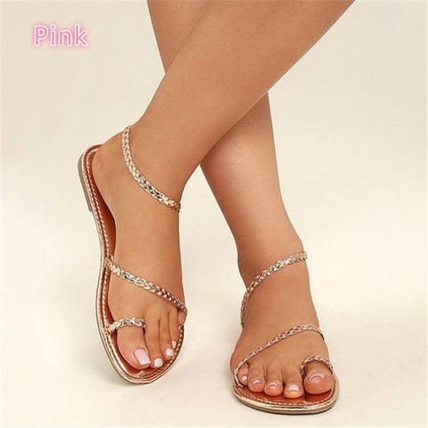 Thong Simple Style Weave Women Flat Beach Sandals with Plus Size