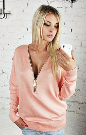 Deep V-neck Zipper Long Sleeves Casual Loose Bat-wing Sleeve Blouse - Meet Yours Fashion - 1