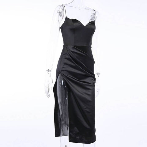 Satin Empire Waist Low Cut Sling Dress