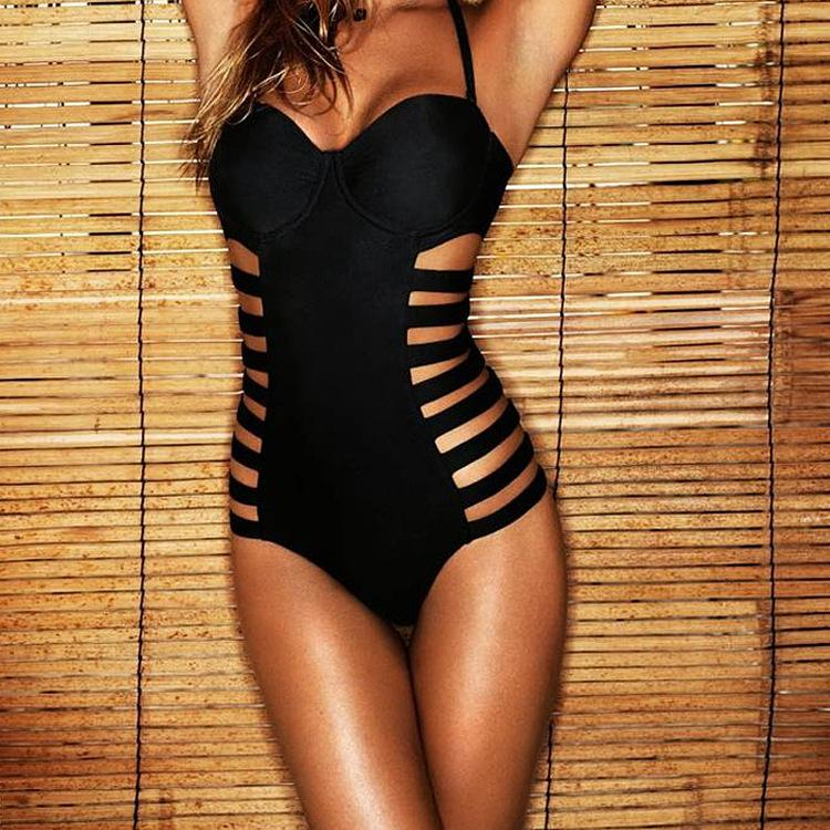 Cut Out Monokini Cut out Spaghetti Strap Swimwear