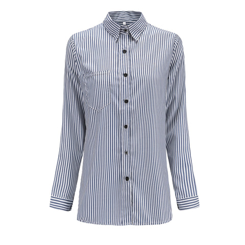 Lapel High Neck Stripe Loose Shirt