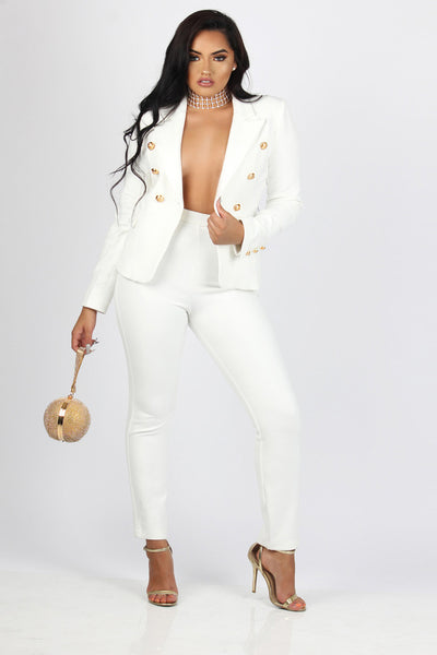 Deep V-neck Buttons Blazer with Skinny Pants Two Pieces Set