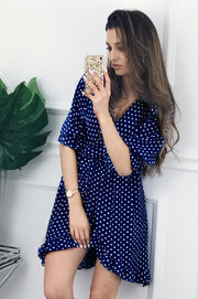 V-neck Wrapped Polka Dot Half Sleeves High Waist Women Irregular Dress
