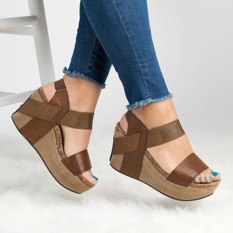 Retro Open Toe Ankle Wrap Platform Women Wedge Sandals with Plus Size