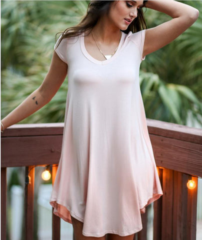 V-neck Short Sleeves Drop Casual Loose Pure Color Blouse - Meet Yours Fashion - 5