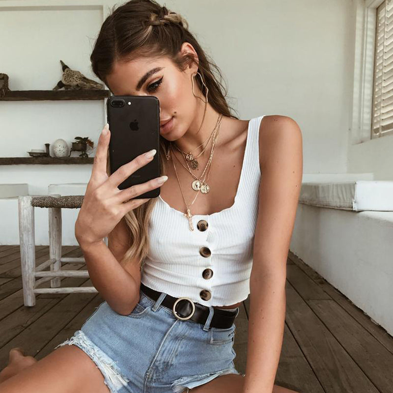 Buttons V-neck Slim Straps Short Crop Top