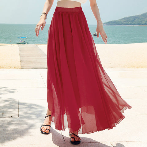 Irregular High Waist Solid Color Pleated Long Maxi Beach Swing Skirt